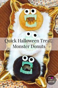 Quick Halloween Treat | Monster Donuts #halloweentreats #monsterdonuts #happyhalloween #halloweenbaking #halloweengoodies via @joannegreco
