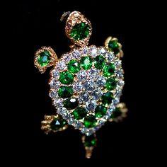 Demantoid Garnet, Diamond And Gold Brooch