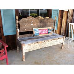 Porch bench from an antique headboard and footboard! Gorgeous! Check it out! The Redneck Designers on FB