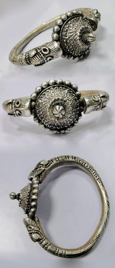 India ~ Rajasthan | Antique solid high quality silver bracelet, from the Banjara people.  | 650$