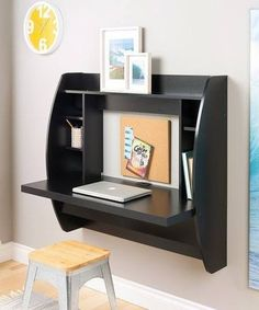 The space-saving design of this contemporary black floating desk with storage is great for creating a stylish and functional work area within smaller environments. Easy to mount, this desk makes the perfect addition to any modern home office. Wall Mounted Desk, Wall Desk, Desk Shelves, Desk Storage, Office Storage, Furniture Storage, Furniture Outlet, Online Furniture, Storage Ideas