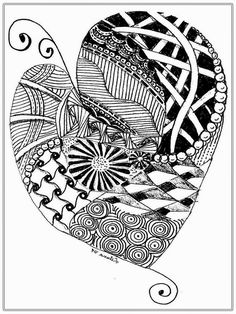 Flower And Heart Free Adult Coloring Pages Printable heart shape