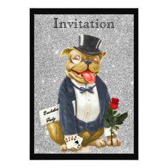 "Black Silver Bachelor Party Invitation Bull Dog 5"" X 7"" Invitation Card"