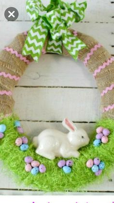 Easter Bunny decorative hanging coloured white birch plywood with ribbon