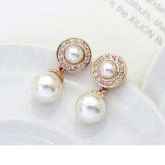 Fabulous Simulated Pearl Dangle Earring With Rhinestone - My wedding ideas