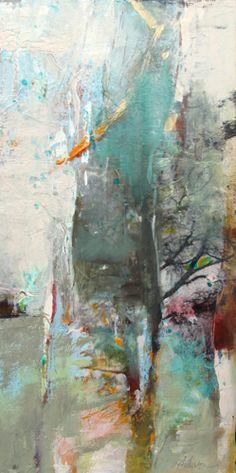 "Renewal II-Abstract by Joan Fullerton Mixed Media ~ 20"" x 10"""