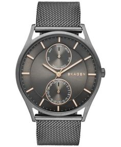 Skagen Men's Holst Smoke-Tone Stainless Steel Mesh Bracelet Watch 40mm SKW6180 | macys.com