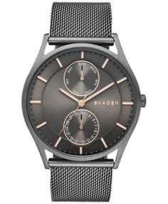 Skagen Men's Holst Smoke-Tone Stainless Steel Mesh Bracelet Watch 40mm SKW6180 | macys.com