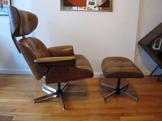 Selig Eames Style Tan Lounge Chair