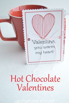 Give a simple gift of hot chocolate for Valentine's day with these printable Hot Chocolate Valentine's cards.