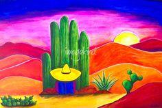 Stunning 'Southwestern Sunset' Artwork For Sale on Fine Art Prints Cactus Painting, Cactus Art, Los Muertos Tattoo, Mexican Paintings, Southwestern Art, Aztec Art, Arte Pop, Mexican Folk Art, Rock Art