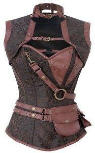 Brown Brocade Steampunk Vest Corset | Robyn's Nest Corsets