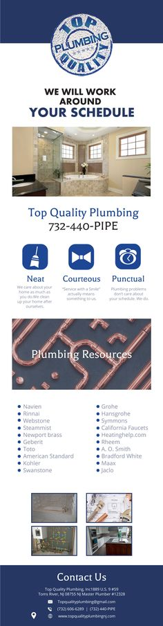 Located just south of the Lakewood-Toms River border, we are proud of our new construction and service work in Point Pleasant, Howell and Brick as well. People throughout Ocean County and Monmouth County are thrilled to meet the friendly and competent plumbers here at Top Quality Plumbing, Inc