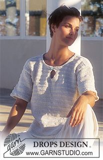 DROPS 45-7 - DROPS Short sleeved jumper in Muskat and Cotton Chenille - Free pattern by DROPS Design