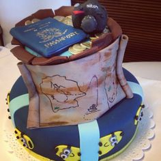 Adventure Cake - Nikon, Passport, Maps, Minion, trip