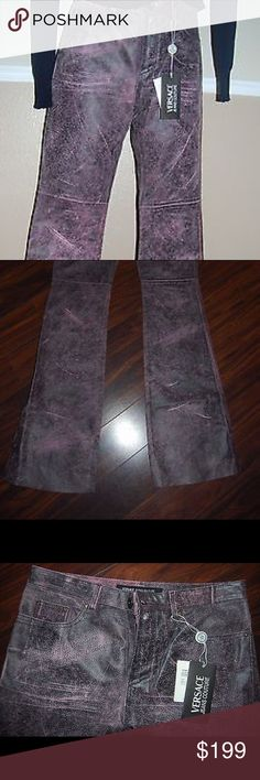 """NWT  Versace Jeans Couture cracked leather pants NWT authentic Versace Jeans Couture cracked leather pants with embossing logos  Pink black distressed color.  Cracked skin effect. Embossing logos """"Versace Jeans Couture""""  100% genuine leather    The lining  dates back to the knee Made in Italy.   Size:  IT 28 42   Measurements   Length- 44,5""""  Waist- 15,5"""" / 39cm  The width at the bottom of the leg- 9,5""""/25cm; If you need shorter it is easy to cut the leather to the length you need Versace…"""
