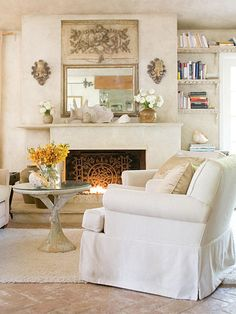Classic Country Rooms: From tried-and-true blue-and-white palettes to vintage collections and creative repurposing, country decorating never goes out of style. Choose from a variety of lived-in, cozy looks and add comfort to every room of your house. Better with Age:   When it comes to country style, most things look better with age. A raw umber glaze gives the living room walls instant age. You'd never guess this room is in a 1950s ranch. Sun-bleached shells, a crusty garden table, and antique floors add to the timeworn appeal of this country home.