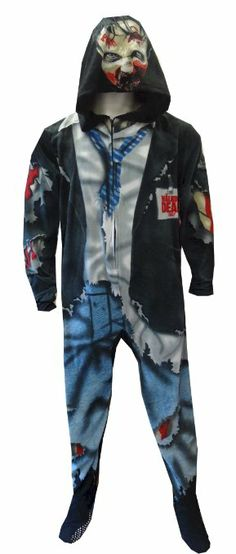 Amazon.com: The Walking Dead Gruesome Zombie Unisex Footed Pajama: Clothing