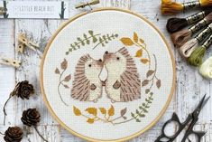 This one is for the nature lovers out there! The ones who not only love each other but also love animals, nature, and wildlife. This cute but subtle cross stitch kit will make the ideal gift for the newlyweds or as a sweet anniversary gift. Modern Cross Stitch Patterns, Counted Cross Stitch Patterns, Cross Stitch Embroidery, Hand Embroidery, Machine Embroidery, Cross Stitch Needles, Cross Stitch Kits, Modern Embroidery, Embroidery Patterns