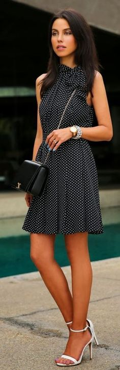 Black Express Dots Dress with White High Heels