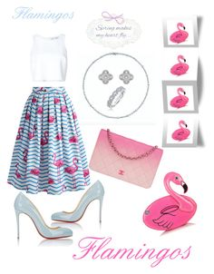 """""""🎀Flamingos 🎀"""" by girlsbossbio on Polyvore featuring Christian Louboutin, Chicwish, Carolina Herrera, Van Cleef & Arpels, Karl Lagerfeld and Chanel"""