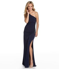 Laundry by Shelli Segal Side-Beaded One-Shoulder Gown | Dillards.com