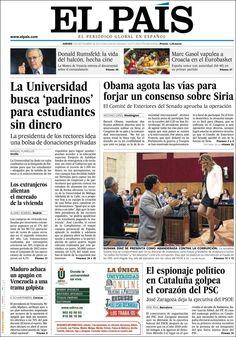 Los Titulares y Portadas de Noticias Destacadas Españolas del 5 de Septiembre de 2013 del Diario El País ¿Que le pareció esta Portada de este Diario Español?