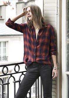 sneak peek / Madewell Fall 2014 catalog. Madewell ex-boyfriend shirt worn with coated leggings. #fallmadewell