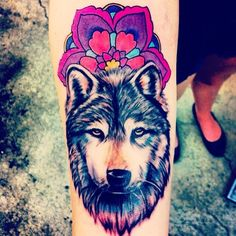Colorful wolf tattoo design