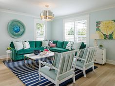 Charla Ray Interior Design (House of Turquoise) House Of Turquoise, Living Room Turquoise, Colourful Living Room, Beautiful Living Rooms, Living Room Designs, Living Room Decor, Family Room Colors, Office Interior Design, Minimalist Living