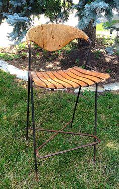 MCM Arthur Umanoff Rattan Back/Wooden Slat Seat/ Iron by HUEisit