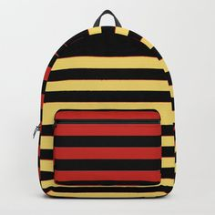"""Designing our premium Backpacks is a meticulous process, as Artists have to lay out their artwork on each component. One size fits all men and women, with heavy-duty construction that's able to handle the heavy lifting for all your school and travel needs.     - Standard unisex size: 17.75"""" (H) x 12.25"""" (W) x 5.75"""" (D)   - Crafted with durable spun poly fabric for high print quality   - Interior pocket fits up to 15"""" laptop   - Padded nylon back... Backpacks For Sale, Kids Backpacks, School Backpacks, Striped Backpack, Black Backpack, Yellow Black, Black Stripes, D Craft, Designer Backpacks"""