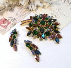 """Large JULIANA Pin & Earring  """"Chatons & Navettes""""  Set - Purples & Green oh my!!"""