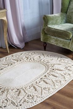 Crochet oval rug big area rug in doily rug yarn lace mat cottage carpet shebbie chic rug floor decor by lacemats laceleaves Crochet Doily Rug, Crochet Rug Patterns, Crochet Carpet, Crochet Home, Crochet Flowers, Tapis Shabby Chic, Tapete Doily, Tapete Beige, Big Area Rugs