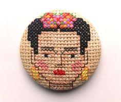 Brooch Frida Kahlo - Cross Stitch - Unique - Handmade
