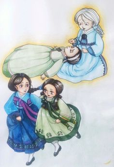 traditional Korean hanbok,designs for Anna and Elsa. In my head, Korean!Elsa AU was born with white hair and red eyes in addition to ice powers. because the King and Queen didn't want people calling her a demon nine-tailed fox child, she wears a wig and brush her eyebrows/eyelashes with black pigment powder and because they couldn't do much about her eyes they taught her to never make eye-contact with anyone not in the family. - icanmakeapictureoutofthat:   If Frozen was a Korean fairy tale.