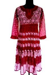 Buy Magenta Colour Chikankari Anarkali