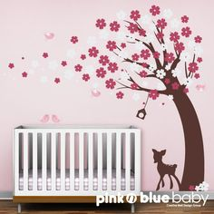 Cherry Blossom Tree, Fawn, Birds : Nursery Kids Removable Wall Vinyl Decal - $92.00