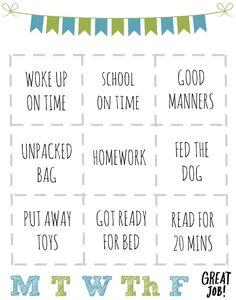 Printable Rewards Chart for Kids