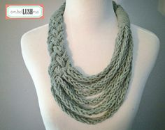 Grey Braided Asymmetrical Necklace with Finger Knit Cotton Strands - Infinity Scarf - Scarflace