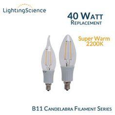 Finally! An LED replacement for candelabra bulbs!  Lighting Science B11 Filament Candelabra - E12 Base - 40 Watt Equal - 2200K