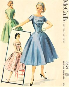 LOVELY Daytime or Party Cocktail Dress Pattern McCALLS 3521 Figure Flattering Full Skirt Dress Bust 34 Vintage Sewing Pattern- Authentic vintage sewing patterns: This is a fabulous original dress making pattern, not a copy. Dress Making Patterns, Vintage Dress Patterns, Clothing Patterns, Vintage Dresses, Vintage Outfits, Vintage Fashion 1950s, Retro Fashion, Full Skirt Dress, Vintage Bridal