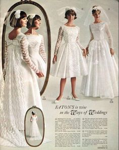 Vintage Wedding dresses in the Eaton's catalogue - Spring and Summer, 1965 Vintage Outfits, Vintage Dresses, Vintage Fashion, Vintage Wedding Photos, Vintage Bridal, 1960s Wedding, Vintage Weddings, Bridal Gowns, Wedding Gowns