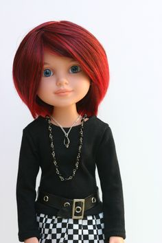 Such a cute look on this BFC, Ink. Doll with a special Blythe red wig...