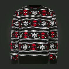 MSRP $50 SMALL & MEDIUM Marvel & We Love Fine Deadpool Men's Christmas Sweater #Marvel #Holiday