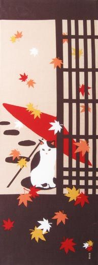 autumn Cat / Fall / Season | Japanese Gifts TENUGUI online shop - wuhaonyc Japanese Illustration, Simple Illustration, Japanese Gifts, Japanese Art, Textures Patterns, Print Patterns, Asian Quilts, Japanese Patterns, Cat Paws