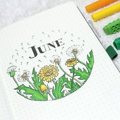Bullet journal monthly cover page June cover page dandelion drawings. Planner Bullet Journal, Bullet Journal Month, Bullet Journal Cover Page, Bullet Journal Notes, Bullet Journal Junkies, Bullet Journal Spread, Bullet Journal Layout, Journal Covers, Dandelion Drawing