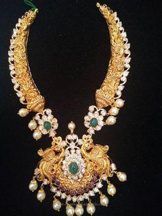 Antique Gold Pearl Necklace Design, 22K Gold Antique Pearl Necklace Models, Antique Necklace with Pearls.