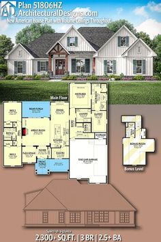 House Plan Discover Plan New American House Plan with Volume Ceilings Throughout Architectural Designs Home Plan gives you 3 bedrooms baths and 2300 sq. Where do YOU want to build? House Plans With Photos, New House Plans, Dream House Plans, Modern House Plans, House Floor Plans, 2200 Sq Ft House Plans, 3 Bedroom Home Floor Plans, Craftsman House Plans, Country House Plans