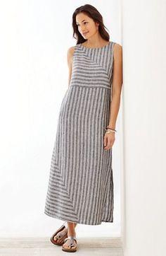 long striped linen dress – Linen Dresses For Women Simple Dresses, Casual Dresses, Fashion Dresses, Summer Dresses, Kurta Designs, Blouse Designs, Dress Designs, Striped Linen, Striped Dress